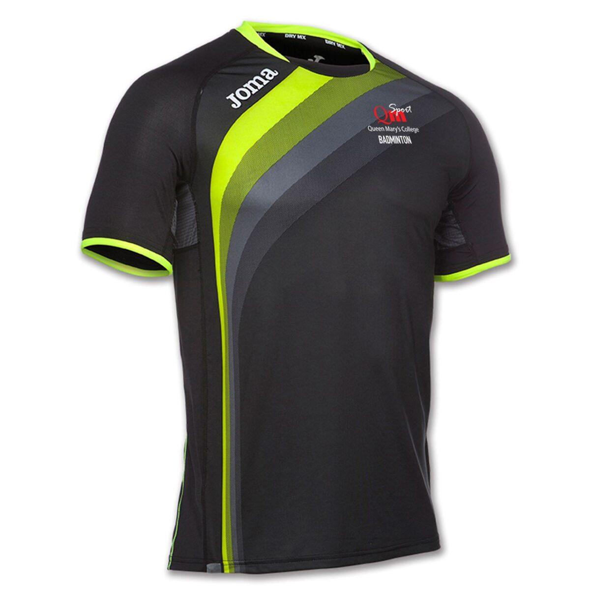 QMC Badminton Mens Short Sleeve Black/Yellow T Shirt  100393.121