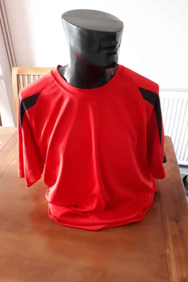 AWDIS Red/Black T Shirt - XL