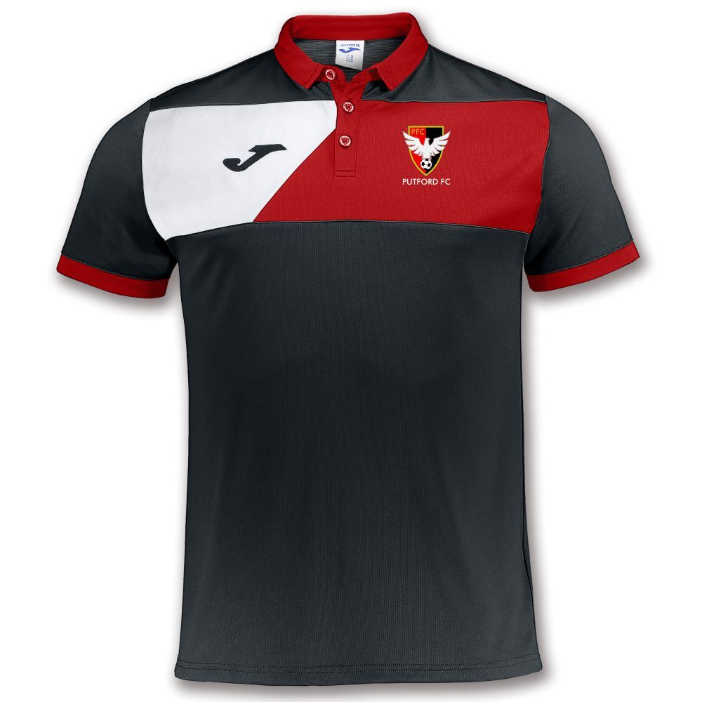 PUTFORD FC Polo Shirt - Joma CREW II Black/Red.White