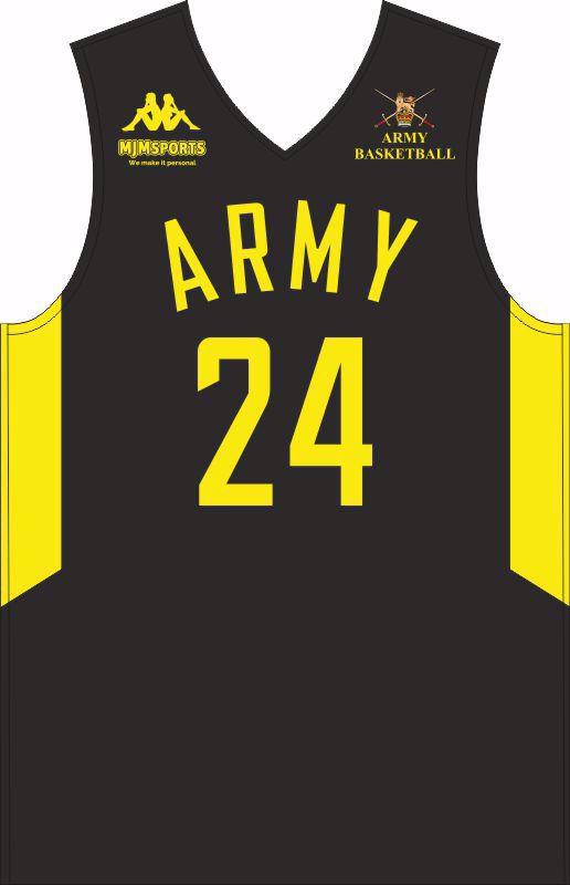Army Warriors Basketball Kappa Custom Vest & Shorts Black