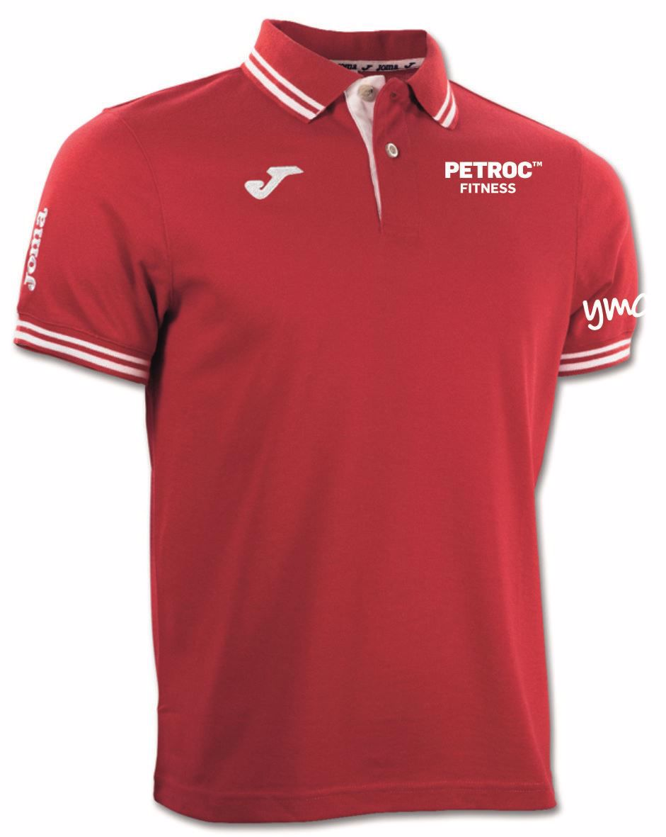 Petroc Fitness Polo Shirt - Bali Red/White - junior sizing