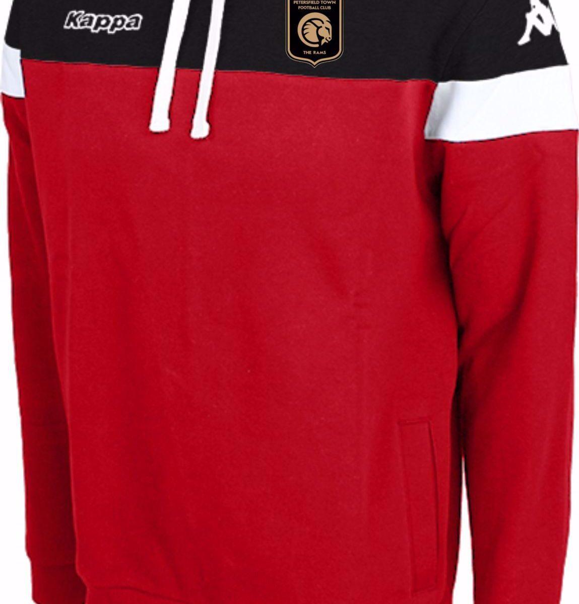 Kappa Accio Hooded Sweatshirt  304IJS0 939- Red/Black Petersfield Town FC