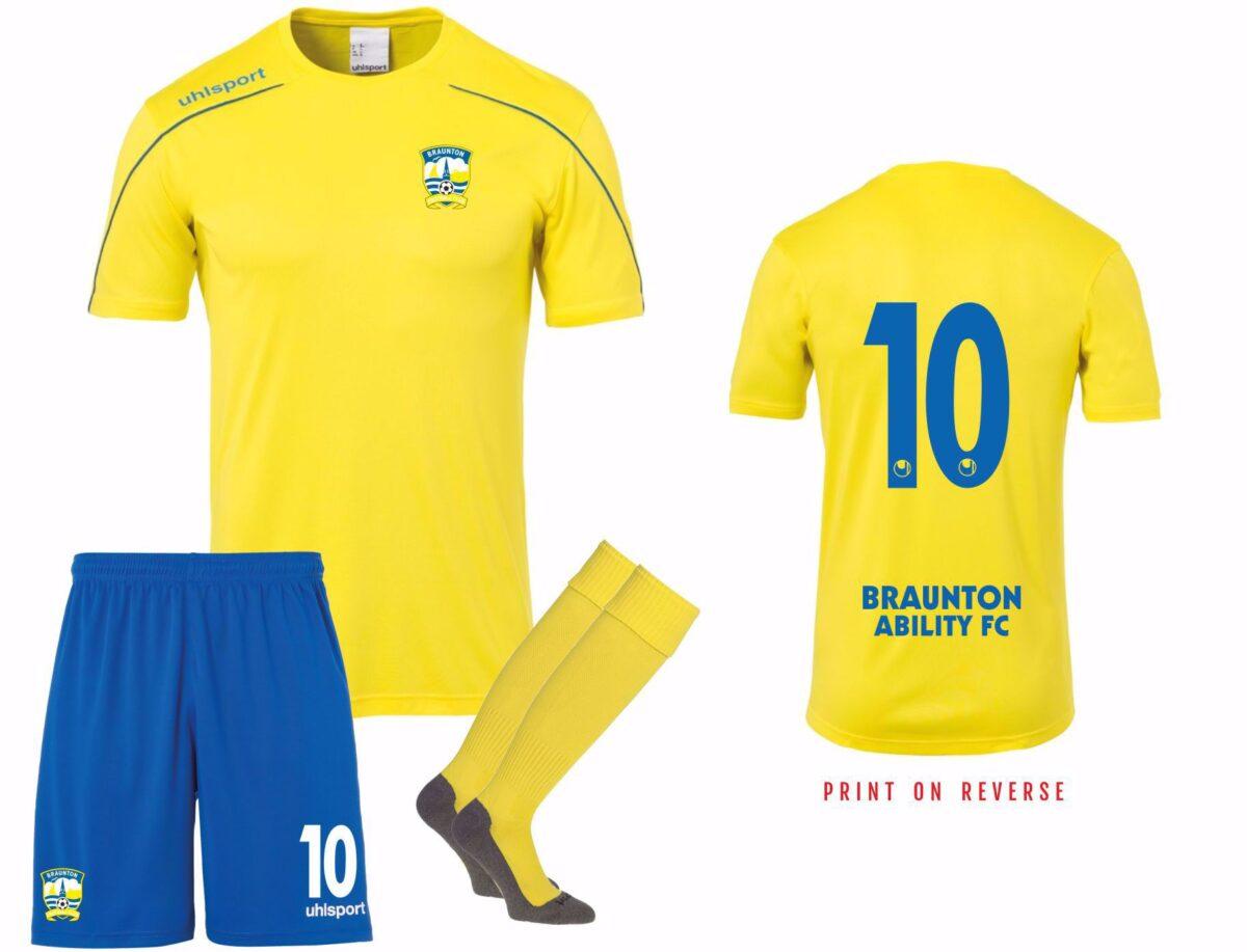 Braunton Abilities FC YELLOW  Playing Kit  - ADULT SIZES
